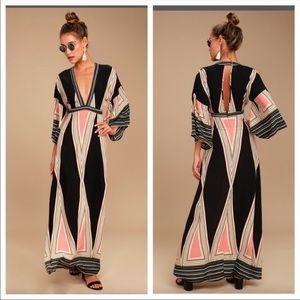 Lulu's Montecito Black Print Open Back Maxi Dress